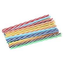 Set of Reusable Striped Plastic Straws