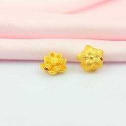New Arrival Pure 999 24K Yellow Gold Women Lucky 3D Lotus Flower Pendant 1-1.3g