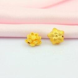 Yeni Varış Saf 999 24 K Sarı Altın Kadınlar Şanslı 3D Lotus Çiçek Kolye 1-1.3g