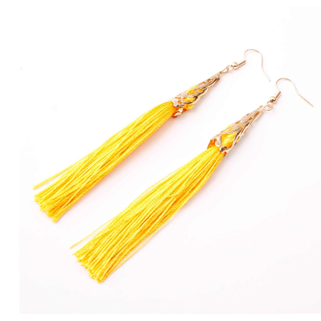 Newest Fashion Bohemian Tassel Crystal Long Earrings White Red Silk Fabric Drop Dangle Tassel Earrings For Women 2019 Jewelry