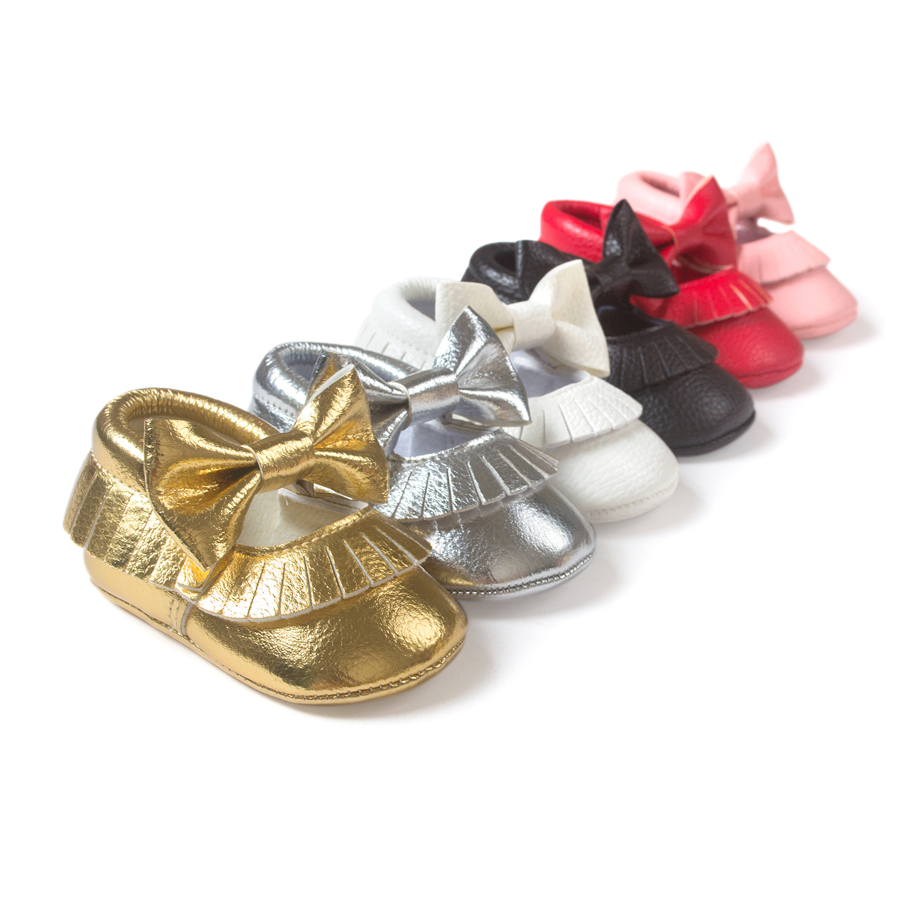 Hollow Baby Shoes Tassel Bow Infant Moccasins Soft Moccs Kids PU