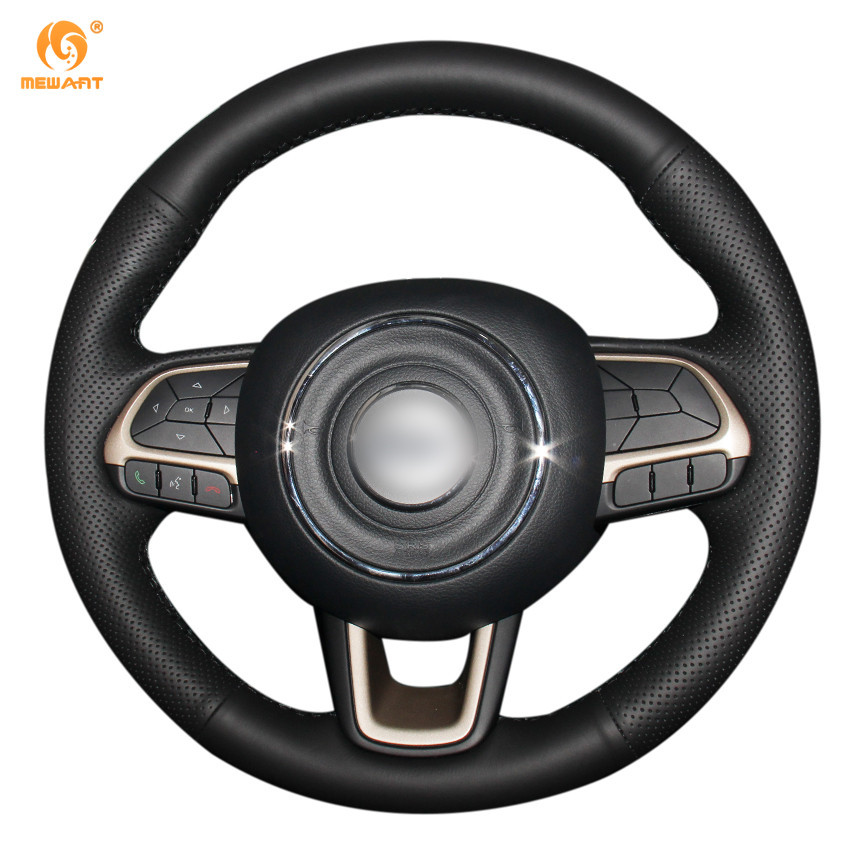 MEWANT Black Genuine Leather Car Steering Wheel Cover for Jeep Compass 2017 Renegade 2016 2017 diy top leather hand sewing car steering wheel cover black