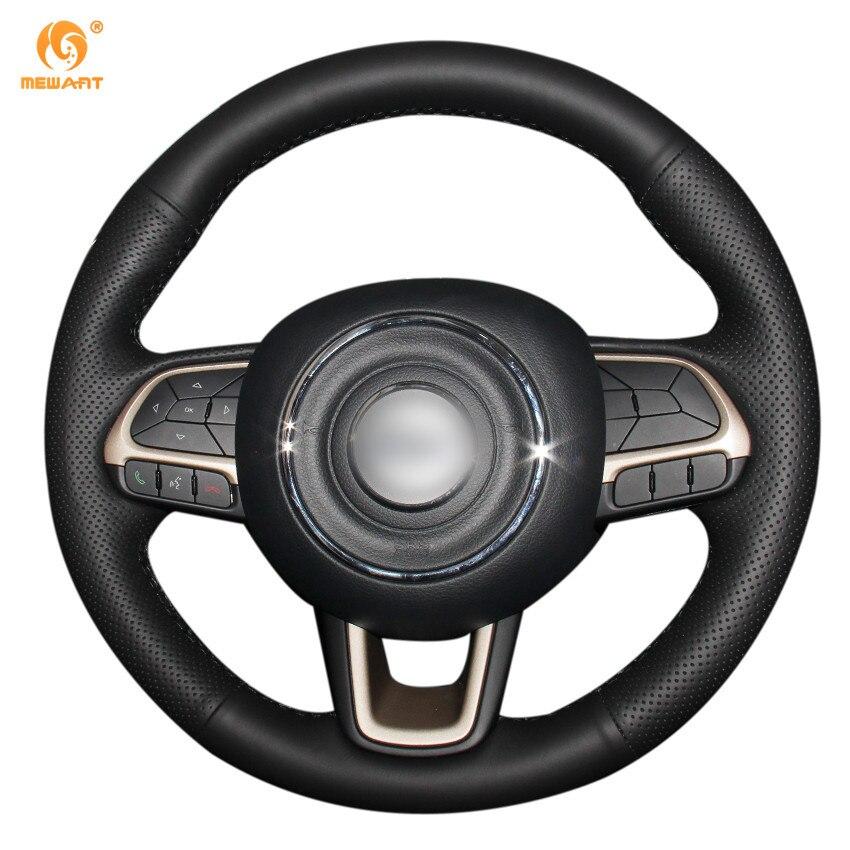 MEWANT черный Натуральная кожа автомобиль руль Крышка для Jeep Компас Ренегат 2017 2016 2017