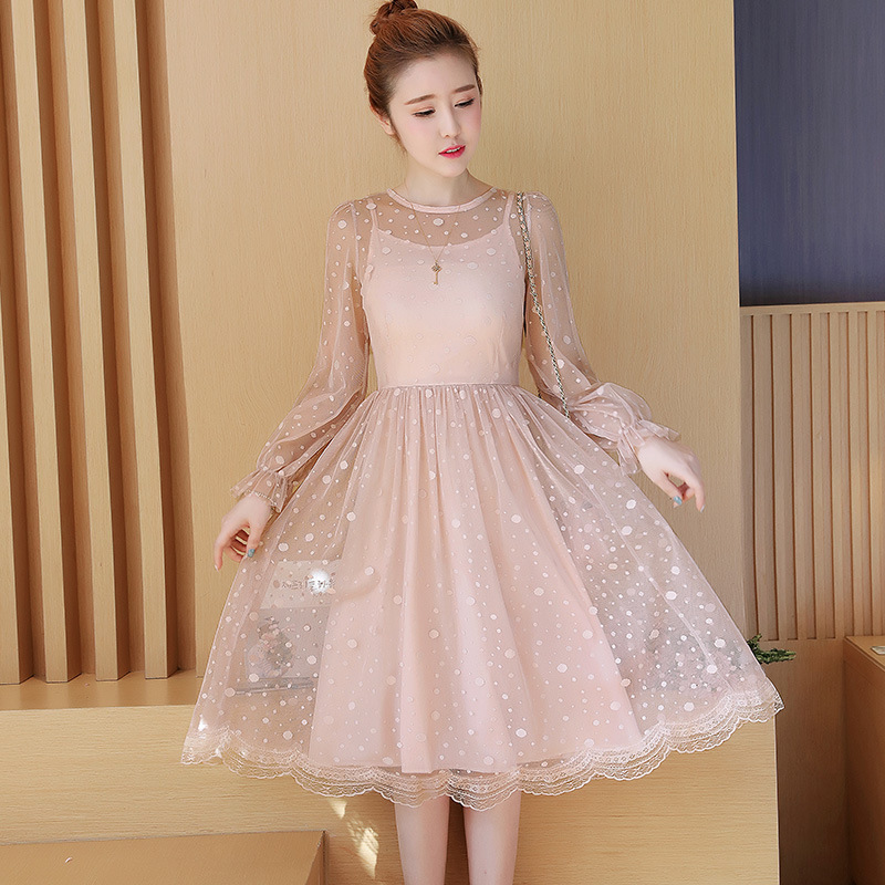 9f181c98481 Detail Feedback Questions about Dot Mesh Slim Tunic Pleated Dress Women  Elegant Vintage Korean Sweet Sexy Office Party Fashion Beach Dress Spring  Lady ...