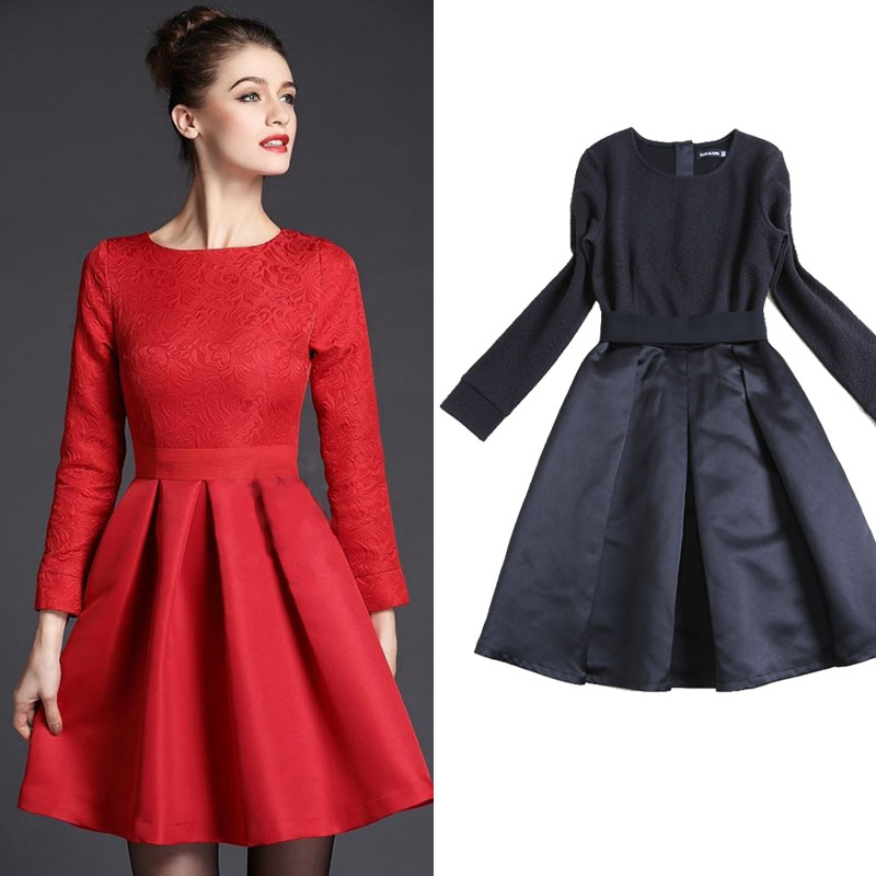 Red Womens Dresses Day Dress Long Sleeve Dress Woman Winter 2015