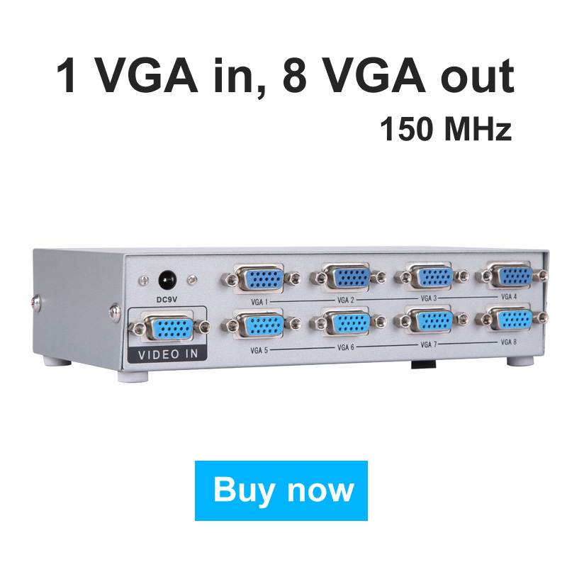 MT-VIKI VGA Video Splitter Distributor 1 input to 8 Output for Common LCD Monitors MT-1508