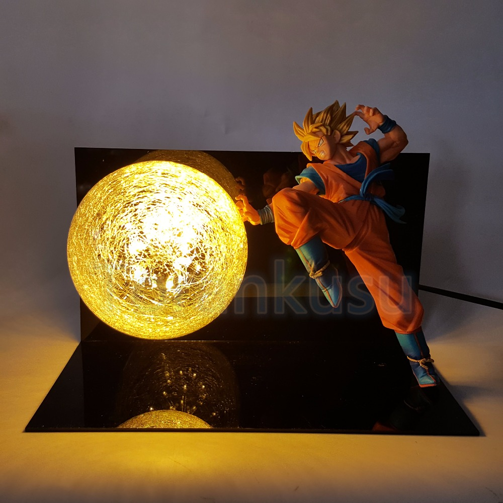 Dragon Ball Z Action Figure Son Goku Super Saiyan FES Led Lighting Display Toy Anime Dragon ball Goku Collectible Model DIY147 dragon ball z god goku super saiyan led light action figures anime dragon ball z dbz fes god son goku table lamp room decor