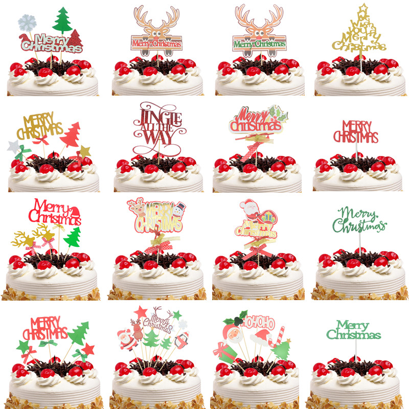 Cake Topper Flags Gillter Santa Claus Cake Topper Kids Happy Birthday Wedding Baby Shower Party Baking DIY Merry Christmas Decor
