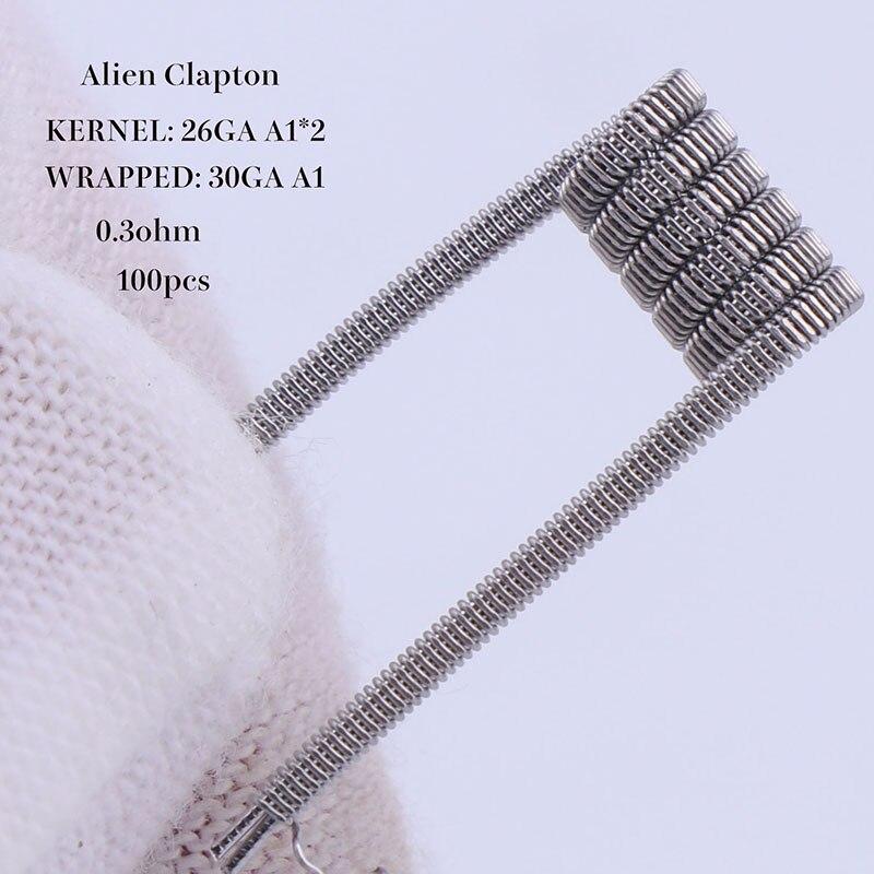 XFKM 100 stücke alien verschmolzen clapton tiger mix flache twisted spulen vorgefertigten wrap drähten Quad hive Heizung Widerstand spule a1
