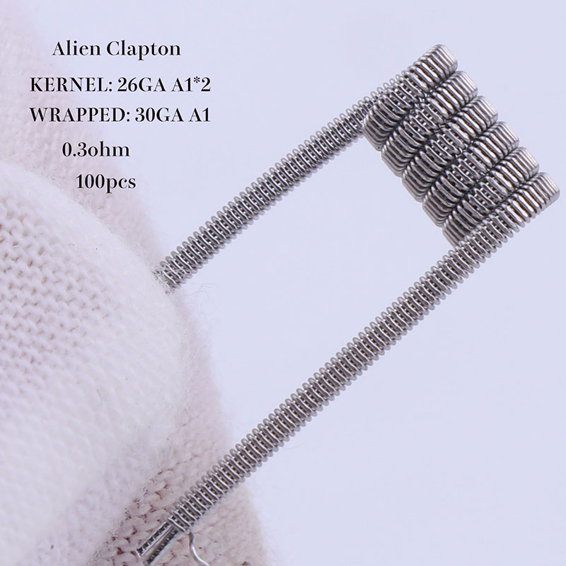 XFKM 100 pcs alien fused clapton tiger mix flat twisted coils premade wrap wires Quad hive Heating Resistance coil a1