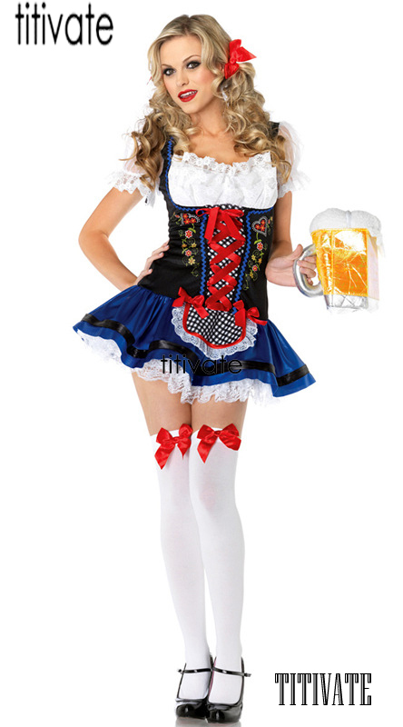 a58991d33033 Big Discount TITIVATE Oktoberfest Beer Girl Costume Maid Germany Bavarian  Party Carnival Floral Lace Up Fancy Dress Dirndl Outfit For Women For Sale  at ...