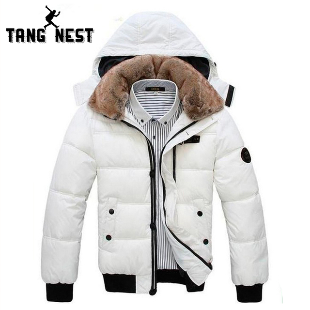 TANGNEST Hot Selling 2017 Man's Jacket Classical Warm Men Jacket Zipper Solid Hat Detachable Coat Black White Size L-XXXL MWM001