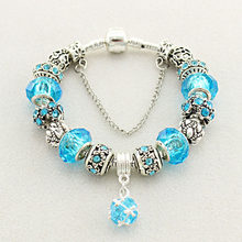 European Style Authentic Tibetan Silver Blue Crystal Charm Bracelet for Women Original DIY Beads Jewelry Christmas Gift(China)