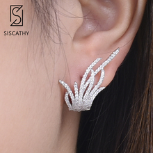 SISCATHY Unique Elegant Famous Brand Jewelry Leaf Full Mirco Paved Cubic Zirconia Earrings For Women Party Wedding Stud Earring