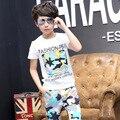 Moda camuflaje impreso camiseta del niño para los muchachos del verano 2017 nuevos niños de manga corta del o-cuello adolescente muchachos camisetas ropa de verano