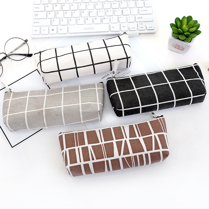 Canvas Geometric Pencil Case School Simple Striped Grid Solid Color Cute Kawaii Pencil Bag Pouch Office Students Kids Supplies
