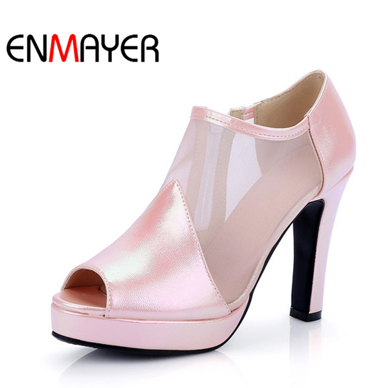 ENMAYER Shoes Woman High Heels Gladiator Zippers Wedding Summer Boots Ankle Boots Peep Toe Platform Solid