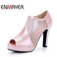 Enmayer zapatos cremalleras mujer tacones altos gladiador verano botas botines peep toe de plataforma de la boda sólido más el tamaño 34-41