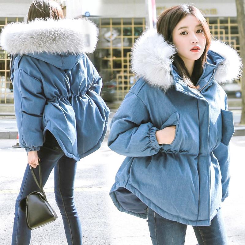 En Hiver Tnlnzhyn Col E417 Manteau Coton Le Bas Color À Court Veste Chaud Mode De Fourrure 2018 Jean Capuchon Vers New Photo Denim Femmes Épais B1qRI5