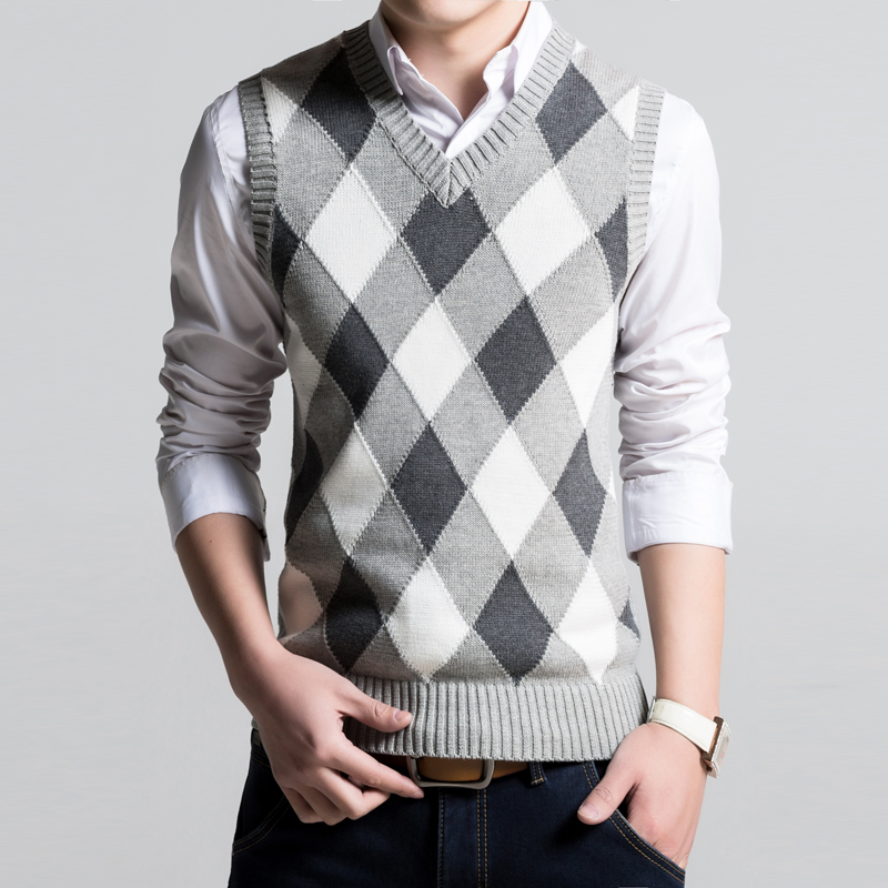 plus size men sweater vest knitted slim fit pullovers pull homme ...