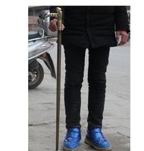 bronze Pure Copper Brass Grandpa Good Lucky Chinese Dynasty Palace Copper Wood longevity God Shouxing Crutch Walking Stick