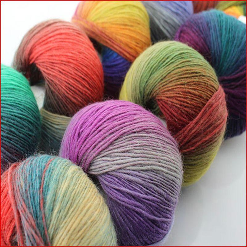 US $21.11 |50g x 5 Ball Luxus Damen Pullover Stricken Garn Australische Wolle Garn Mode Regenbogen Farbe Wolle Dicken Garn in Garn aus Heim und Garten