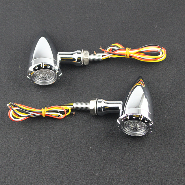 Motorcycle Flashing LED Turn Signals Brake Blinker Light For Harley Cruiser Chopper Bobber Cafe Racer 12v LED Indicator Lights