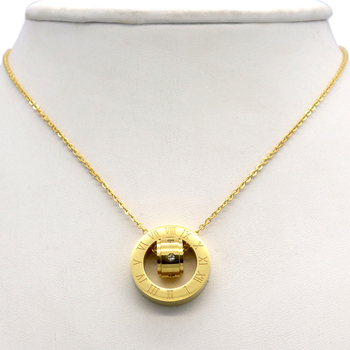 Women's Round Pendant Necklace w/ Cubic Zirconia 18K Gold Plated