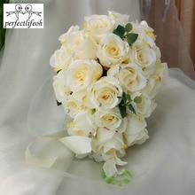"""""""Lifeoh fiore sposa accessori da sposa damigelle Champagne cascata Bouquet da sposa Bouquet da sposa romantico"""