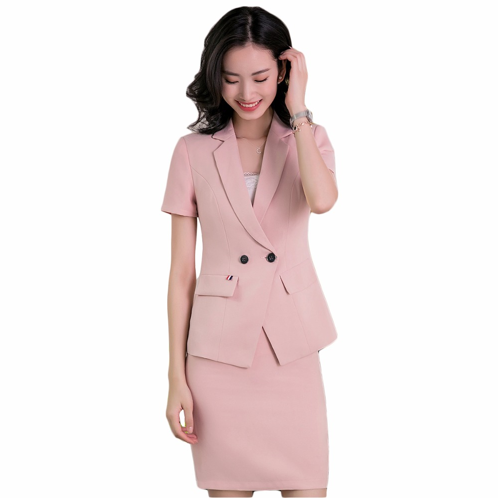 2018 Spring summer work wear uniform skirt suits set women short sleeve slim formal blazer with skirt OL office ladies suits