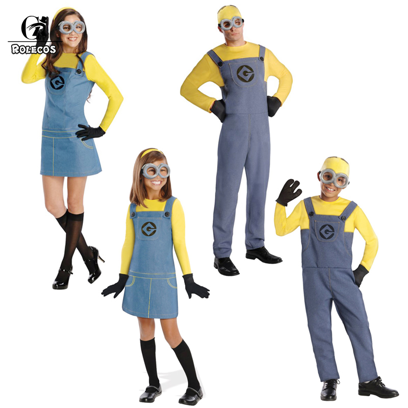 ROLECOS famille Halloween Cosplay Costume Minions enfants Cosplay Costume uniforme hommes adultes femmes enfants Halloween Cosplay Costume