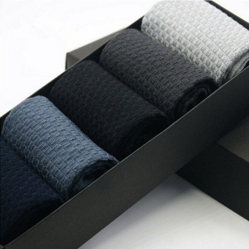 5Pair/Lot Mens Dress Bamboo   Socks   Male Brand Quality Small Squares Business Long   Socks   Men   Socks   Calcetines Hombre   Sock