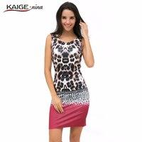 KAIGE NINA Mulheres Sexy Leopard Vestido Casual Off The shoulder Moda Mini Vestido Sem Mangas Bainha vestido Plus Size Vestido de 2288