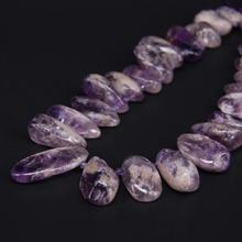 15.5″/strand Natural Raw Amethysts Freeform Nugget Loose Beads,Purple Crystal Top Drilled Stick Pendant Beads Jewelry Making