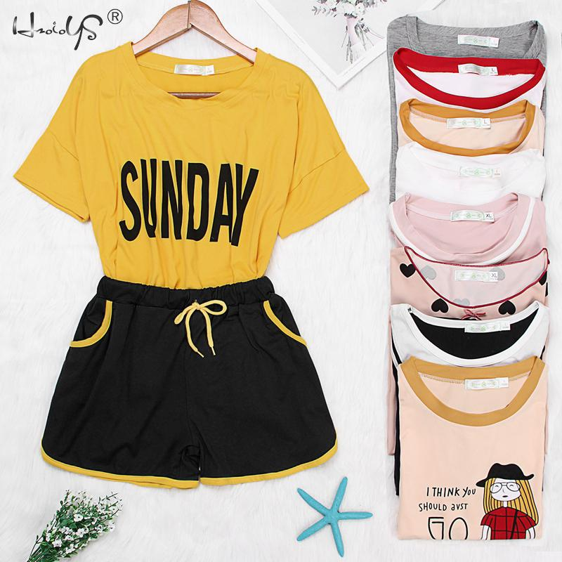 Summer Women   Pajama     Sets   2019   Pajamas   Cartoon Short Sleeve T shirt + Shorts Women Sleepwear Cute Animal Print Female Homewear