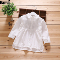 Famli 2017 Baby Girls School Blouses Spring Autumn Children Girl Fashion Solid White Full Sleeve Turn-Down Collar Shirt