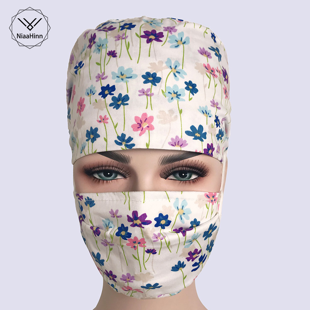 Unisex Medical Clothing Women Medical Beauty Cap Man Doctor Nurses Printing Scrub Caps Medical Surgical Surgery Hat Adjustable