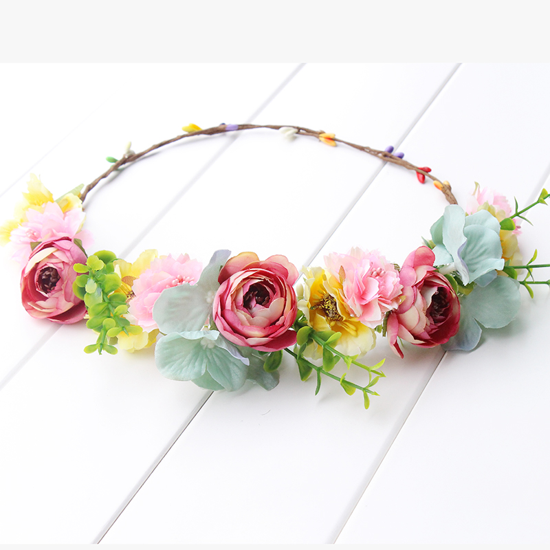 pink yellow green Flower Crown Headband Boho Hippie Festival Floral - Apparel Accessories - Photo 4