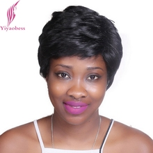 Yiyaobess pelucas de cabello negro corto rizado para mujer, 6 pulgadas, resistente al calor, sintético, africano, americano, hinchado, Natural, para mamá