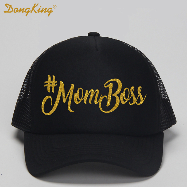 DongKing Mom Boss Trucker Hat Mom The Boss Trucker Caps Mom Gold Glitter  Print Cap Hats Family Gift Meth Baseball Snapback Adult 669ca22b339b