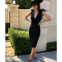 Boussac Sexy High Quality Women Sleeveless Elegant Bandage Dress Veil Bow ties Little Black Summer Chic Bodycon Vestidos