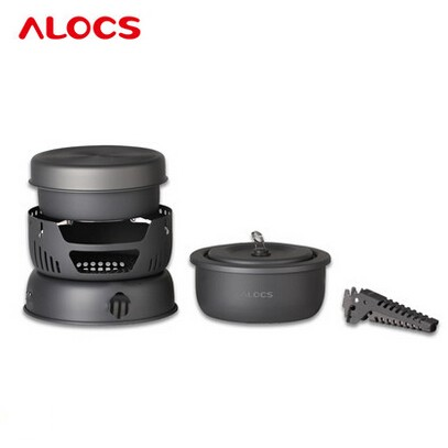 ALOCS 10Pcs Portable Outdoor Camping Cooking Set Cookware 2-4 Persons Picnic Pots Pan Alcohol Stove CW-C05 alocs cw c01 outdoor tableware aluminium alloy 1 2 person 7pcs camping cook set portable for outdoor hiking picnic