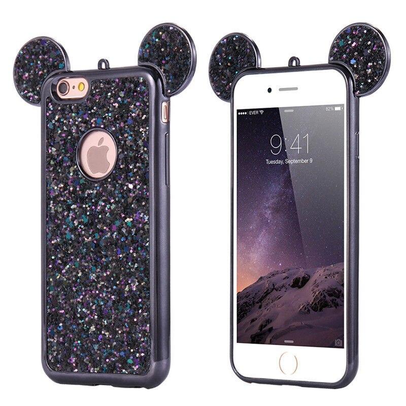 3D Mickey Mouse Silicone Case For iPhone <font><b>6</b></font> 6s Plus 7 7 Plus 5 5s SE Cases Fashion Bling <font><b>Glitter</b></font> Ultra Soft TPU <font><b>Cover</b></font>