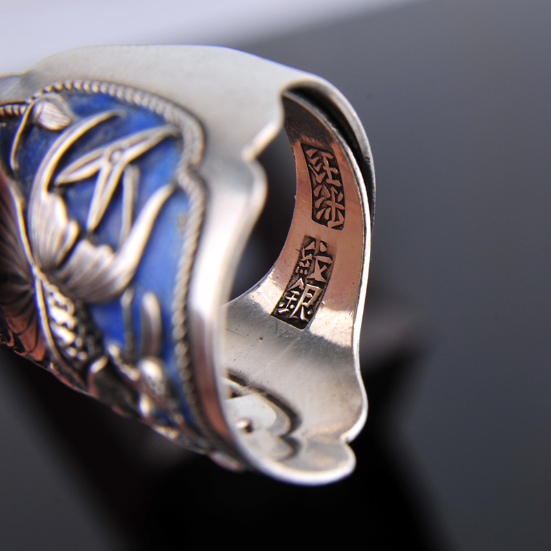 Silber Ring 999 Zuyin Kann es werden überschüsse jährlich. Männer und frauen paare öffnung Silber Ring emaille Shaolan ring - 4