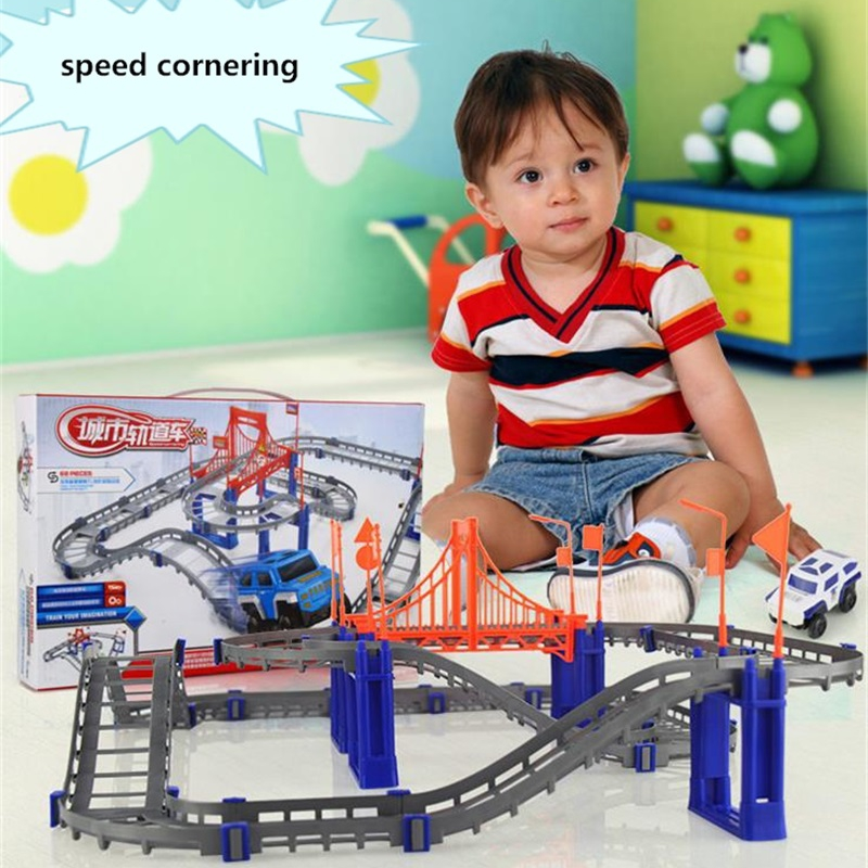 Electric Racing rail car kids train track model toy baby Railway Track Racing Road Fun Assemble Toy Birthday Gift For Kids Boys