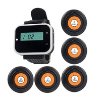 5pcs White Button Pager 1 Black Watch Receiver Wireless Restaurant Hotel Waiter Calling System F3232A