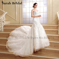 Sweetheart Lace Mermaid Wedding Dresses Long Train Ivory Ruched Luxury Crystals Bridal Gowns Vestido De Casamento