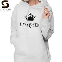 His Queen Her King Hoodie His Queen Hoodies Streetwear Cotton Hoodies Women Long Sleeve Graphic Trendy White Pullover Hoodie