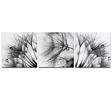 Black and White Dandelion Diamond Painting 3pcs Embroidery Beaded Cross Stitch Full Round Mosaic Needlework Wall Decor
