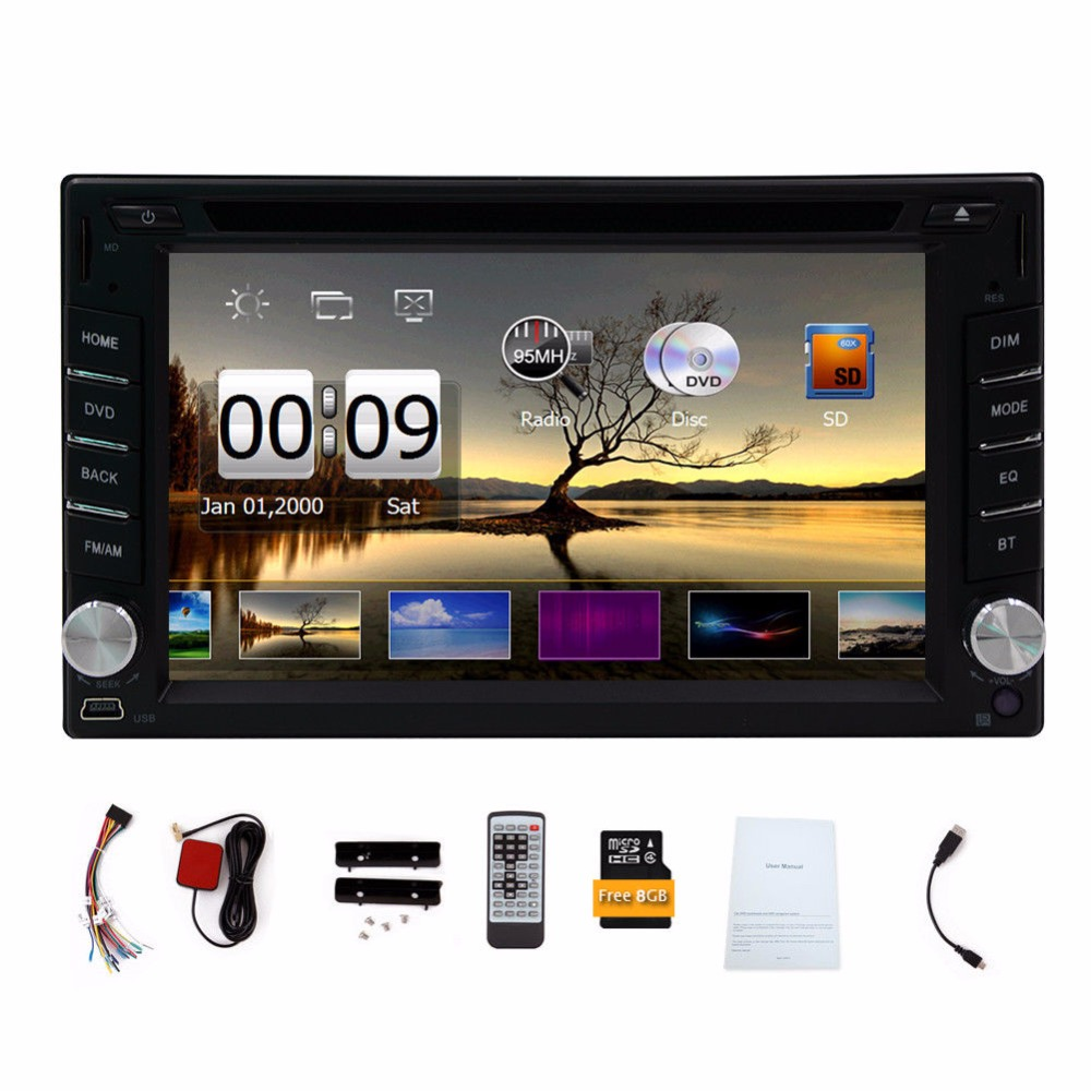 Car DVD Player 2 din multimedia GPS Navigation cassette player Stereo in-dash Radio build-in Bluetooth Video Audio FM AM RDS+8GB 6 2 wince6 0 free 8gb map camera for 2din universal car dvd player radio stereo gps navigation bluetooth stereo fm am rds aux